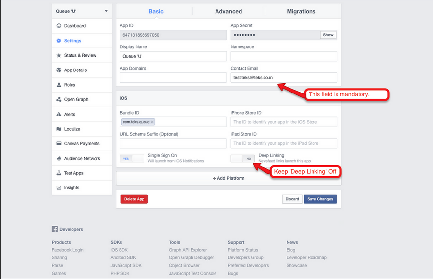 Facebook App Id - Step 5