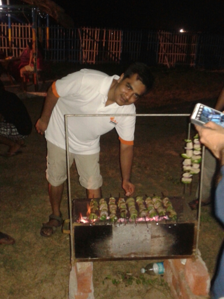 Enjoying barbeque at Mandarmani