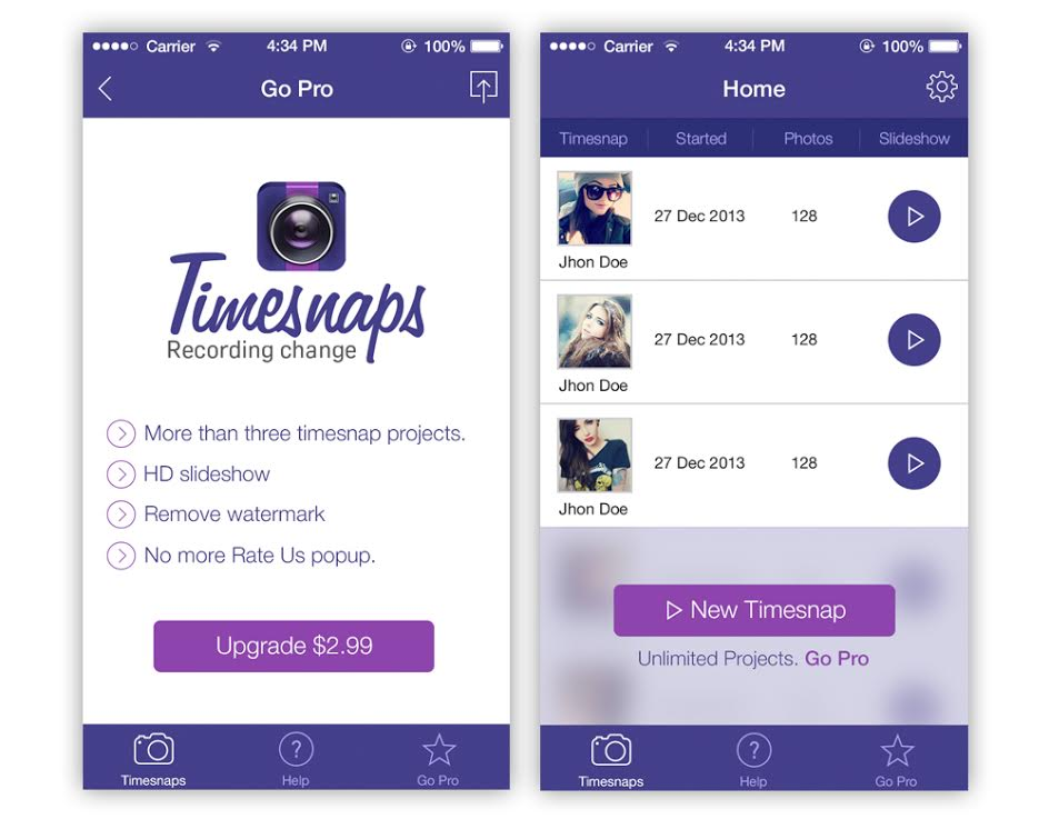 Timesnaps is a photo storytelling app for iOS devices