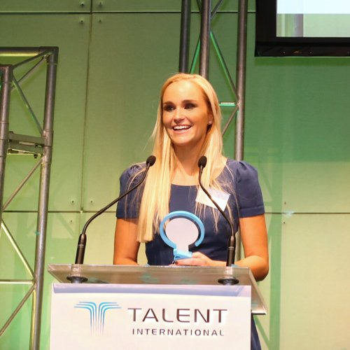 Amber at the Talent Unleashed award ceremony.