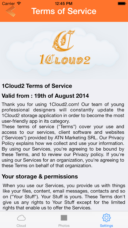 Terms & Conditions screen of 1Cloud2