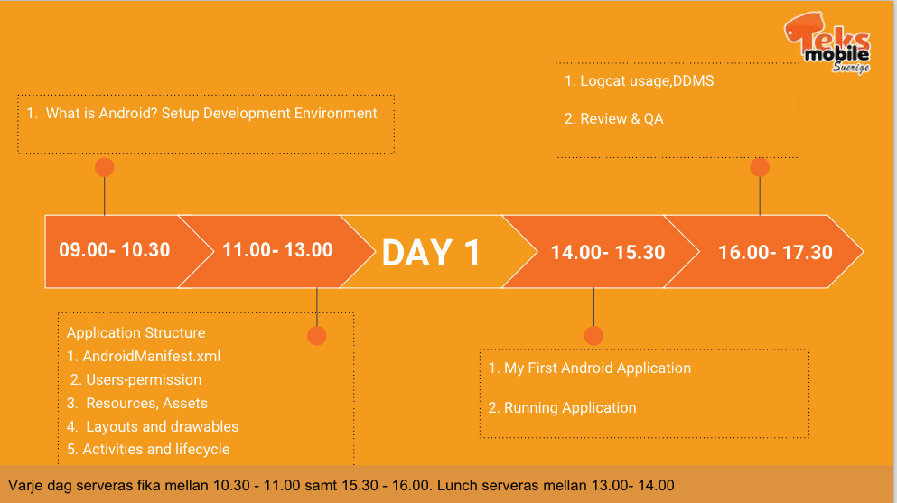 Android workshop - Day 1 Schedule