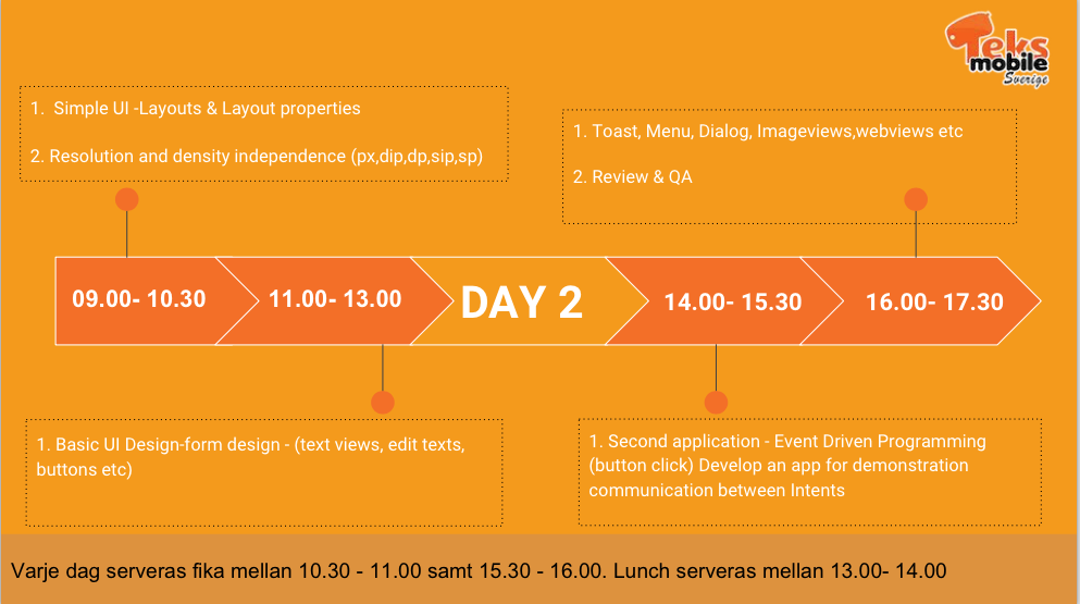 Android Workshop - Day 2 Schedule