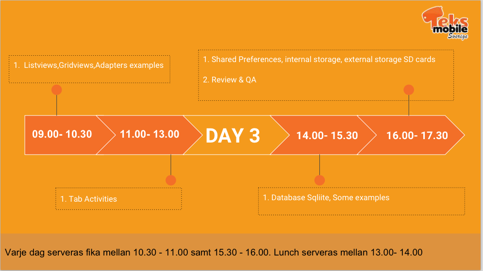 Android Workshop - Day 3 Schedule