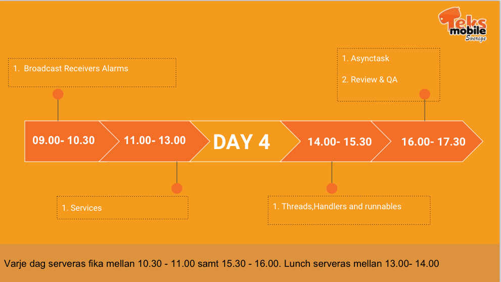 Android Workshop - Day 4 Schedule