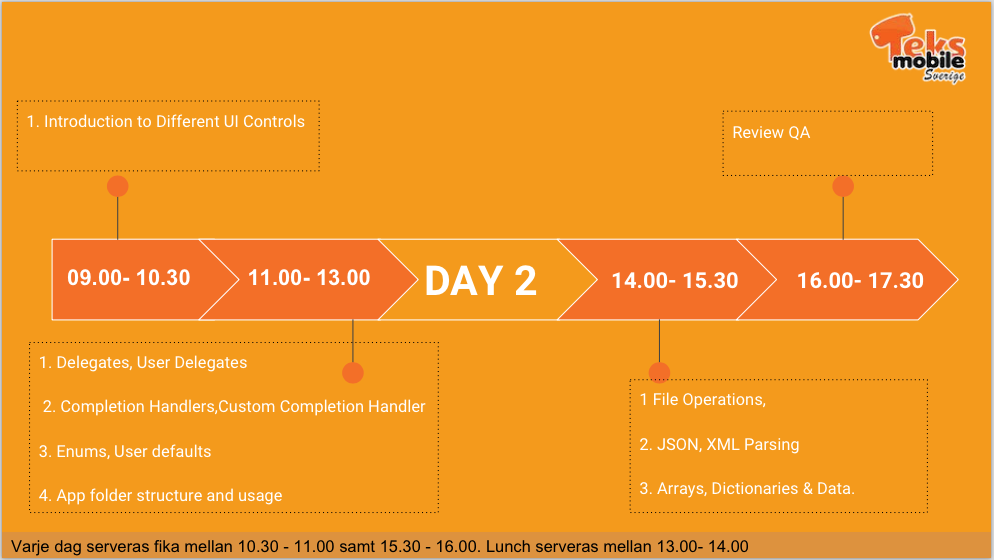 iOS Workshop - Day 2 Schedule