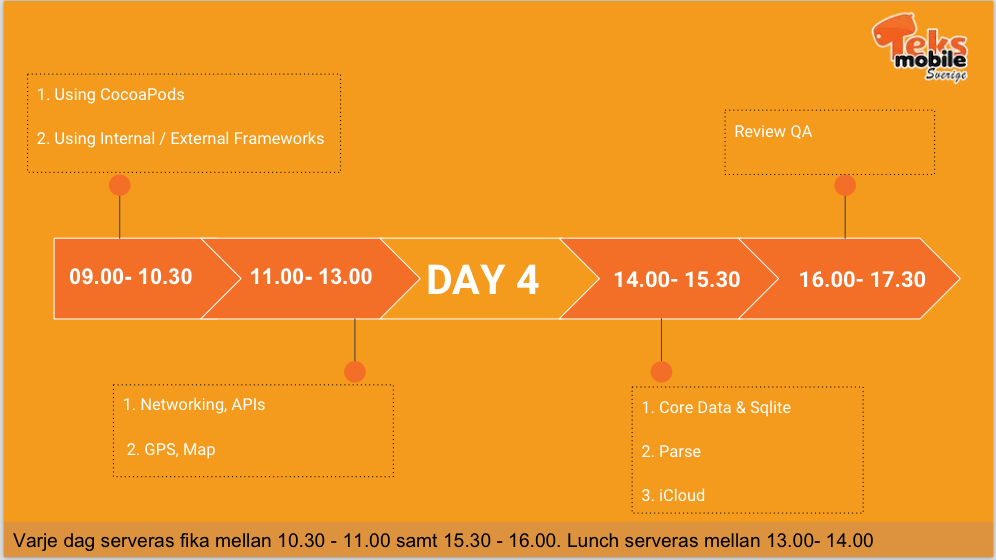 iOS Workshop - Day 4 Schedule