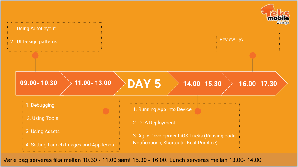 iOS Workshop - Day 5 Schedule