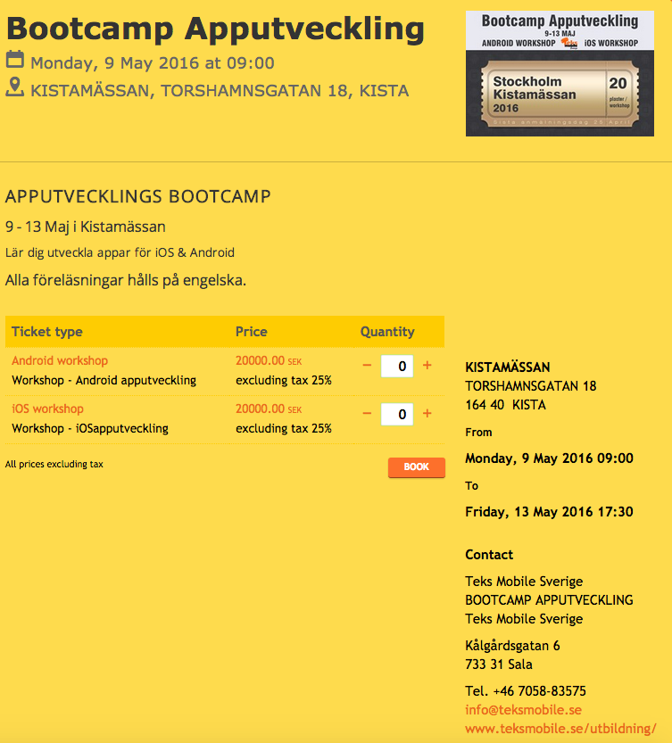 Registration tickets for Teks Sweden iOS/Android workshops